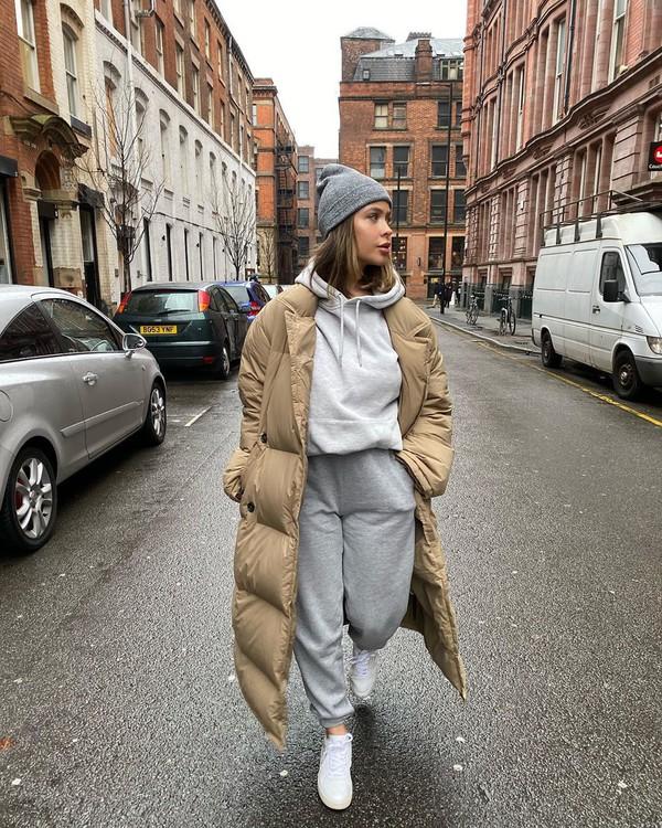 coat puffer jacket joggers white sneakers hoodie