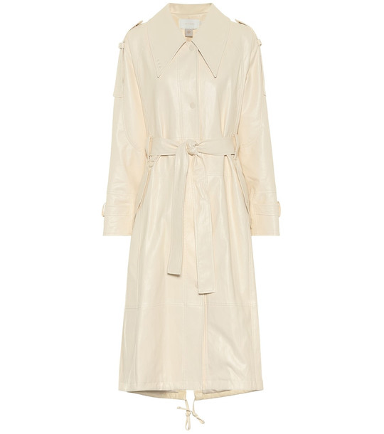 Low classic Faux-leather trench coat in white