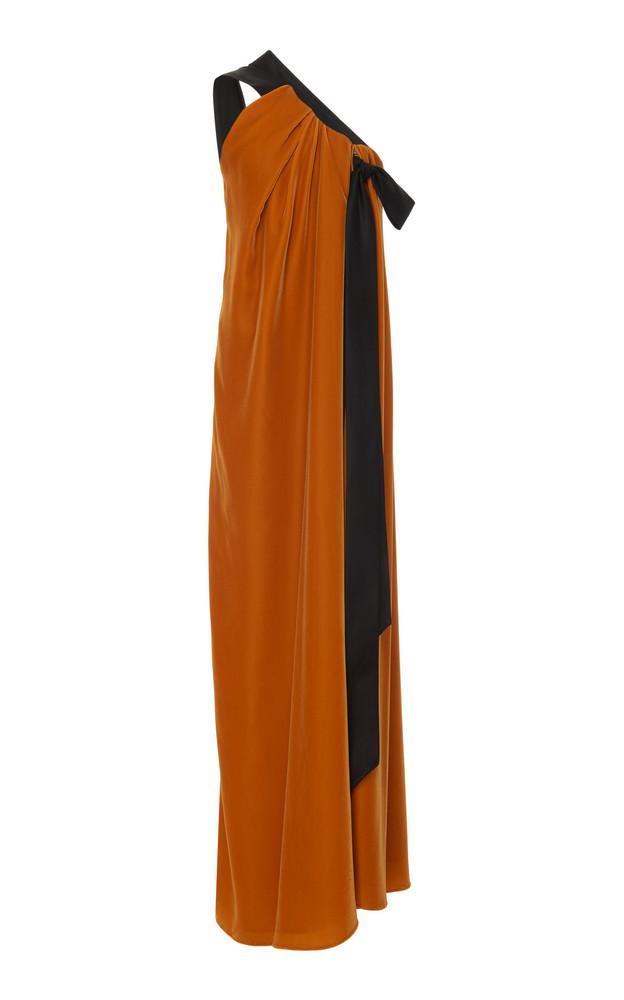 Oscar de la Renta SpecialOrder-Bow-Accented Asymmetrical Velvet Gown-A in yellow