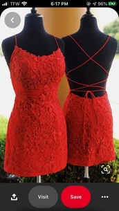 dress,red,homecoming dress,embroidered dress