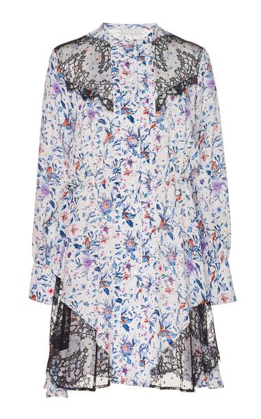 Fleur du Mal Gathered Lace Insert Dress in print