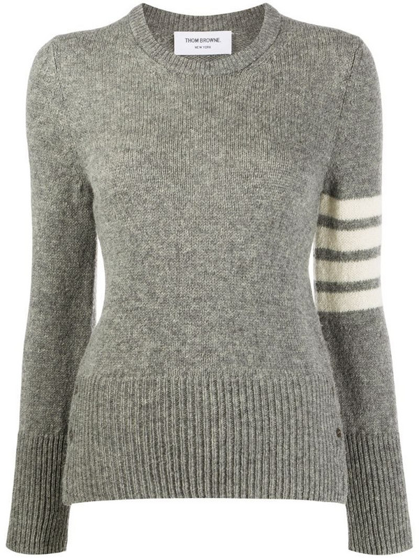 Thom Browne Jersey Stitch Classic Crew Neck Pullover w/ 4 Bar In Shetland Wool in grey