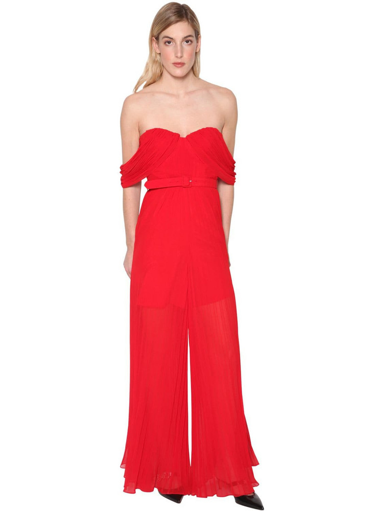 SELF-PORTRAIT Off-the-shoulder Pleated Techno Jumpsuit in red