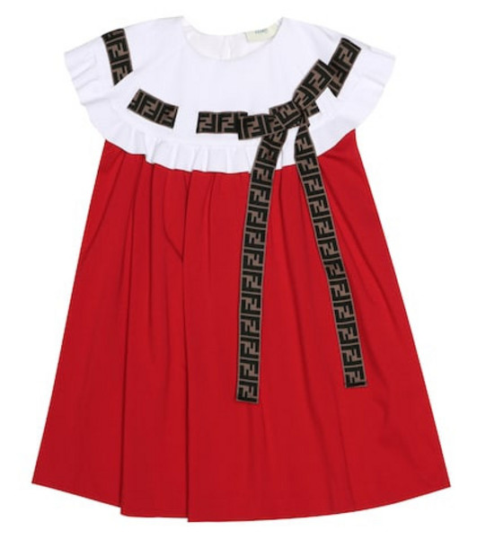 Fendi Kids Embellished jersey dress in red