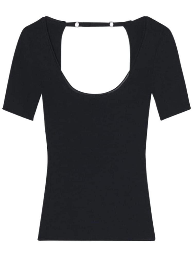 JACQUEMUS Lera Viscose Knit Rib Open Back Top in black