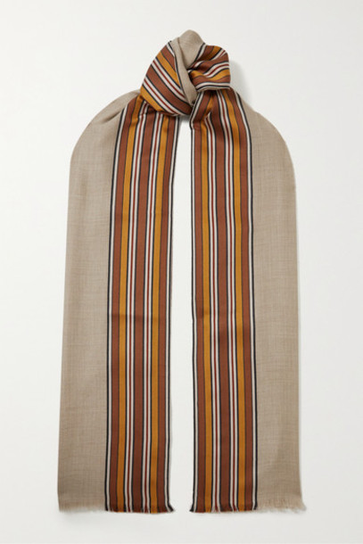 Loro Piana - The Suitcase Stripe Fringed Silk And Cashmere-blend Scarf - Beige
