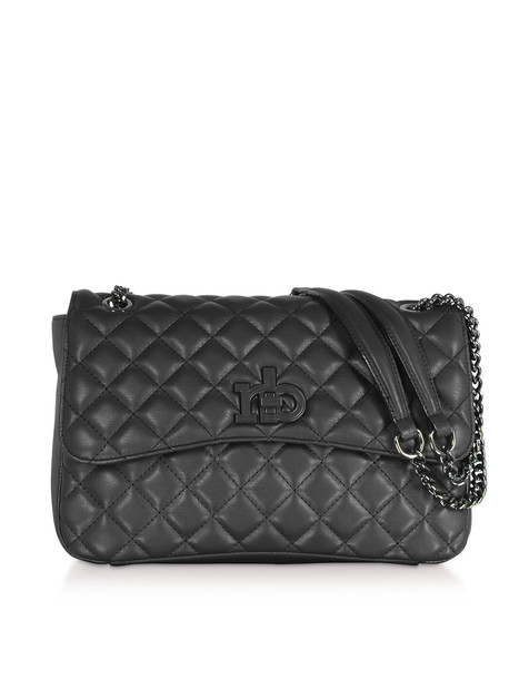Roccobarocco Rb Releve Quilted Eco Leather Shoulder Bag in black