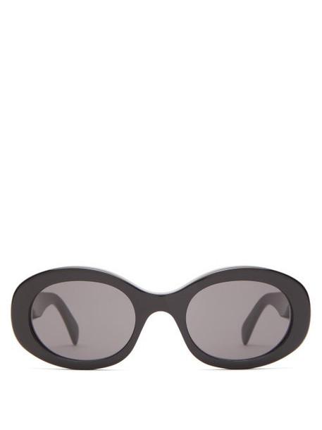 Celine Eyewear - Oval Acetate Sunglasses - Womens - Black