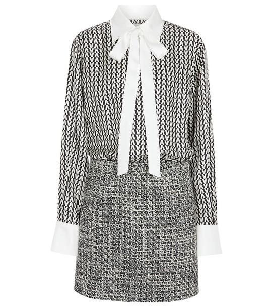 Valentino Printed wool and silk minidress in white