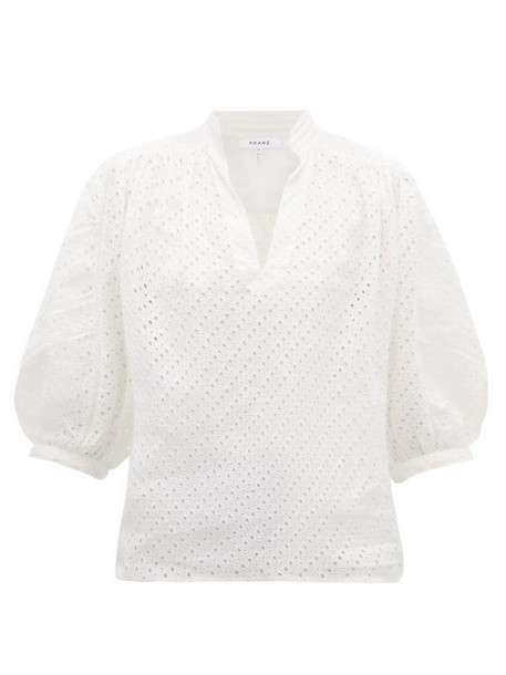Frame - Broderie Anglaise Ramie Blouse - Womens - White
