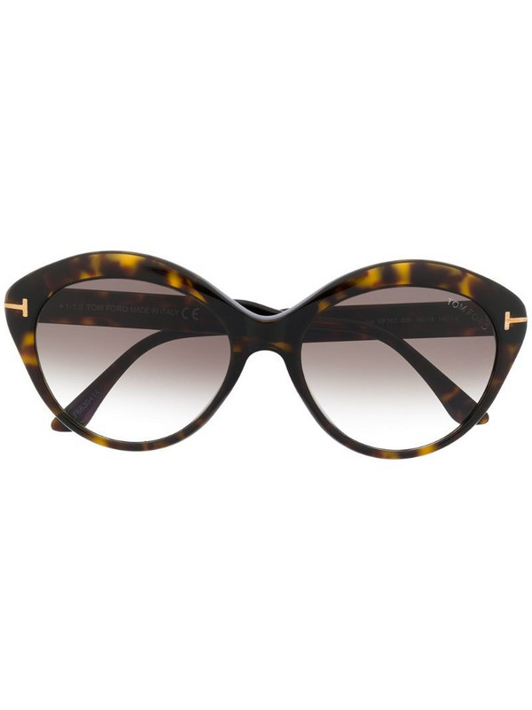 Tom Ford Eyewear FT0763 round-frame sunglasses in brown