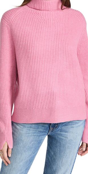 Rag & Bone Pierce Cashmere Turtleneck Sweater in pink