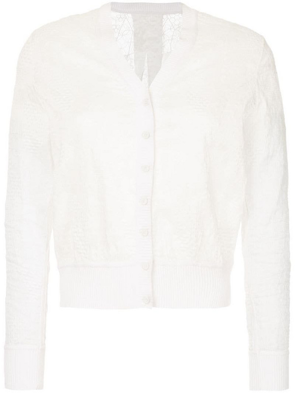 Onefifteen geometric embroidered cardigan in white