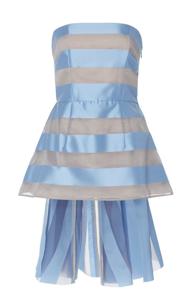 Lela Rose Watteau-Back Strapless Striped Top in blue
