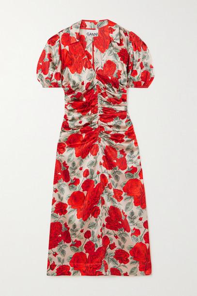 GANNI - Ruched Floral-print Silk-blend Satin Midi Dress - Red