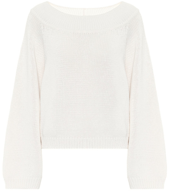 The Row Yasima cotton and cashmere sweater in white
