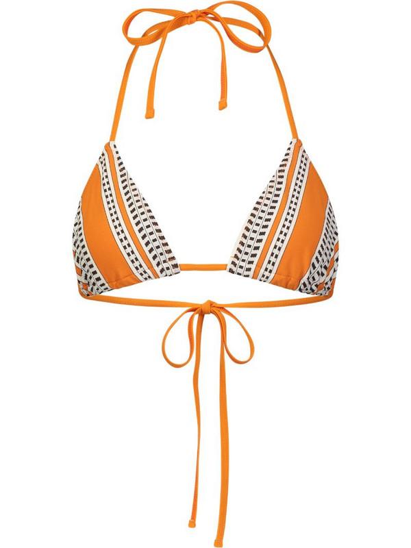 lemlem ethnic print bikini top in orange
