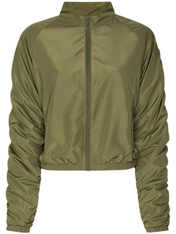 Fantabody ruched-sleeve zipped track jacket in green