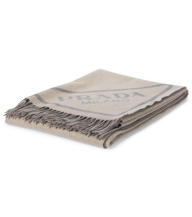Prada Logo jacquard cashmere scarf in grey
