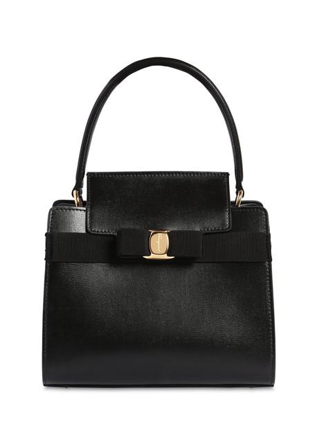 SALVATORE FERRAGAMO New Vara Small Leather Top Handle Bag in black