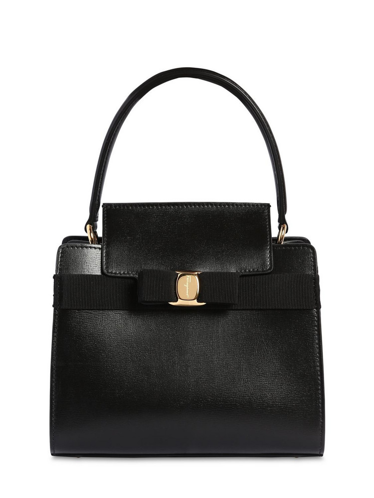 SALVATORE FERRAGAMO New Vara Small Leather Top Handle Bag in black