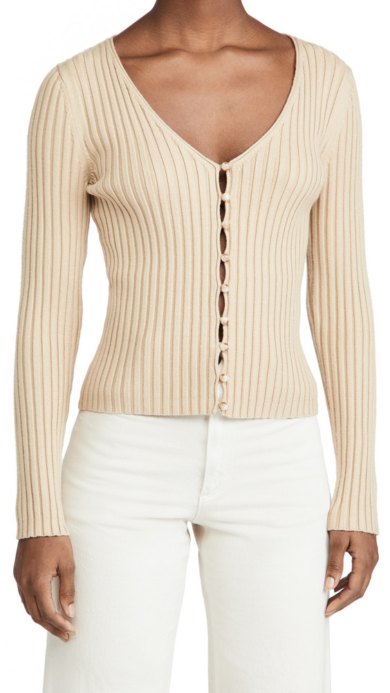 WAYF Frenchie Ribbed Cardigan in khaki