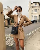 dress,mini dress,blazer dress,double breasted,balenciaga,crossbody bag,white top,turtleneck,sunglasses,gold necklace