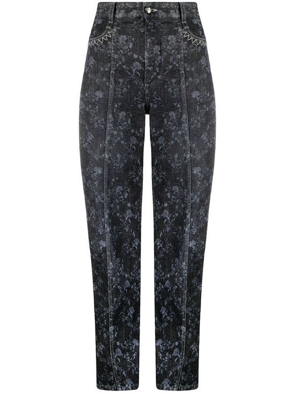 Chloé floral print straight-leg jeans in grey