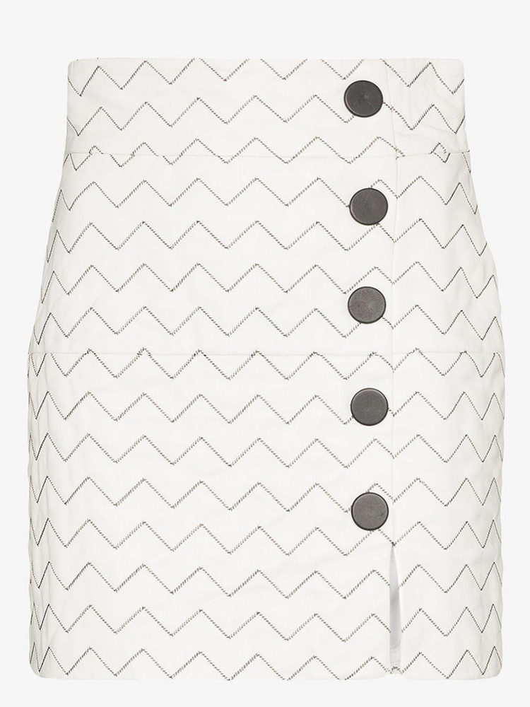 Skiim Sienna zigzag leather skirt in white