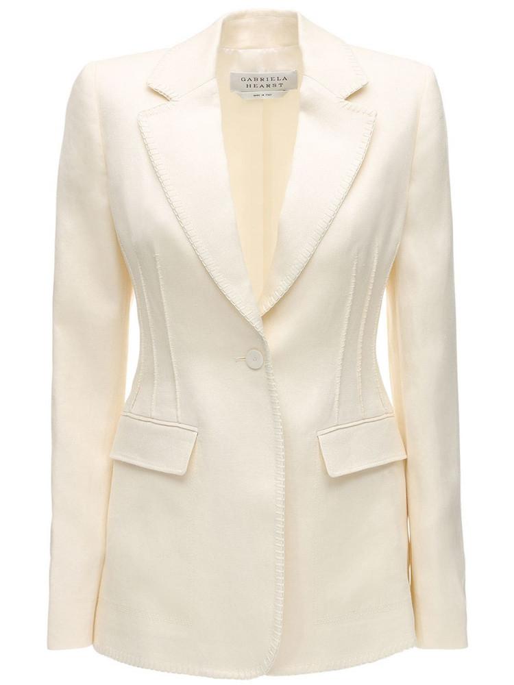 GABRIELA HEARST Lvr Sustainable Linen Blazer in white
