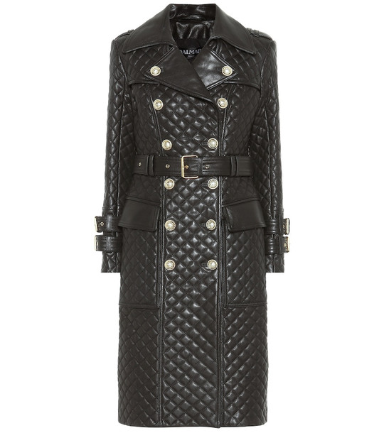 Balmain Quilted leather coat in black
