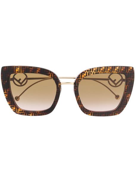 Fendi Eyewear monogram print sunglasses in gold