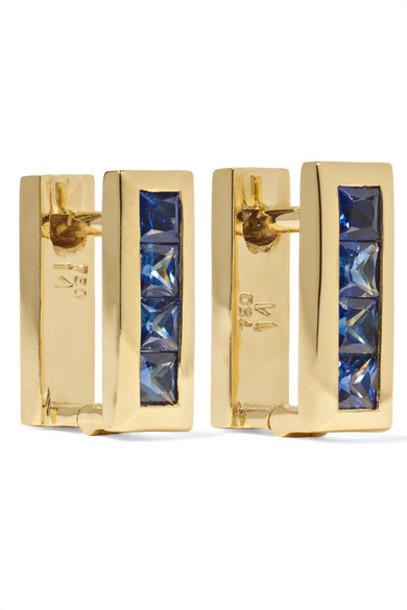 Ileana Makri - Mini Square 18-karat Gold Sapphire Earrings