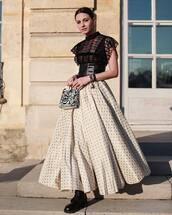 bag,handbag,dior bag,white bag,maxi skirt,white skirt,polka dots,black lace top,black belt