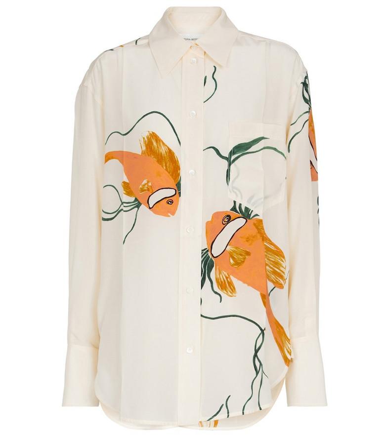 Victoria Beckham Printed oversized silk shirt in white