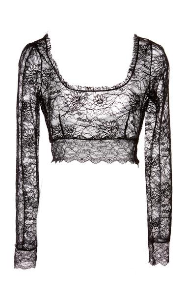 Dundas Stretch Lace Crop Top in black