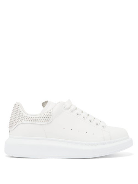 Alexander Mcqueen - Raised-sole Studded Leather Trainers - Womens - White Silver