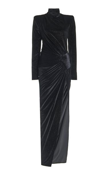 Alexandre Vauthier Gathered Velvet Sequin Turtleneck Dress in black