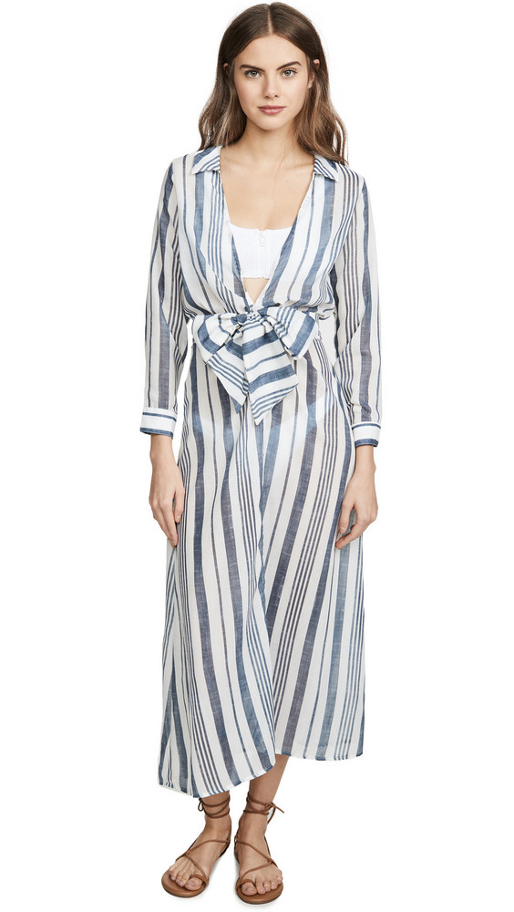 Palmacea Striped Wrap Dress in navy