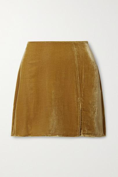 REFORMATION - Cleo Velvet Mini Skirt - Yellow
