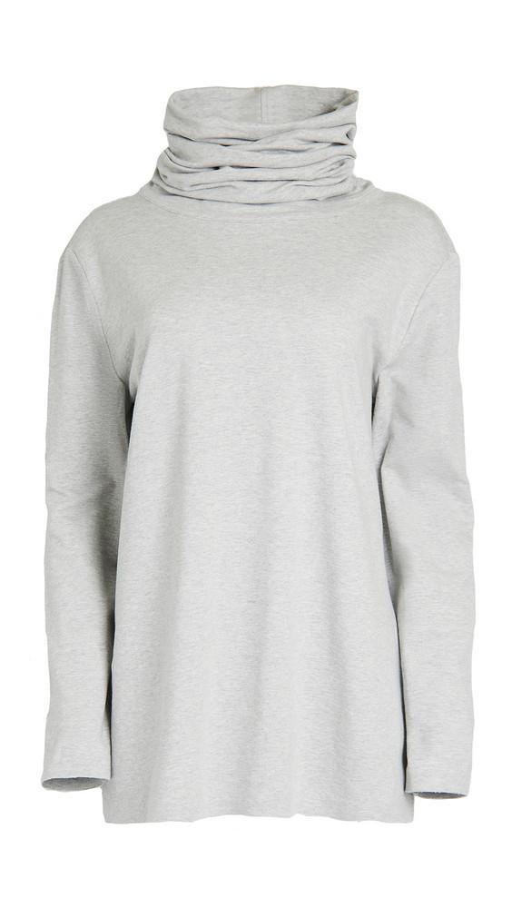 Norma Kamali Boyfriend Oversized Turtleneck Top in grey