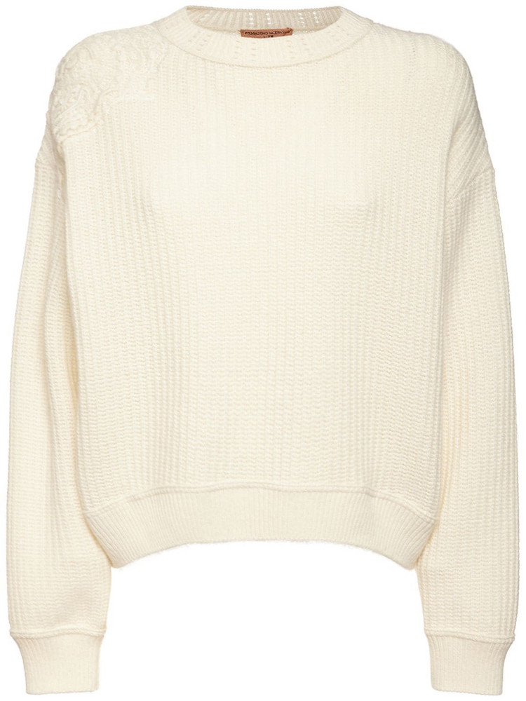 ERMANNO SCERVINO Wool Blend Rib Knit Crewneck Sweater in white