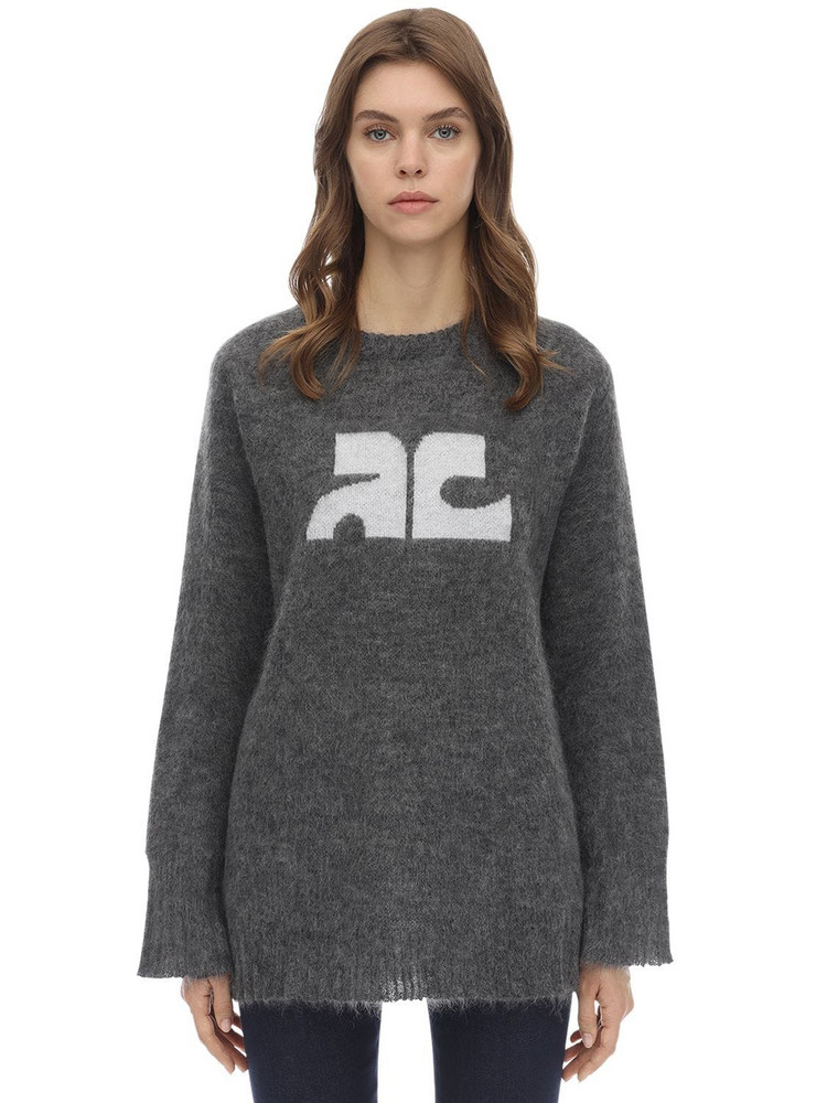 COURREGES Long Sleeved Mohair Blend Sweater in grey