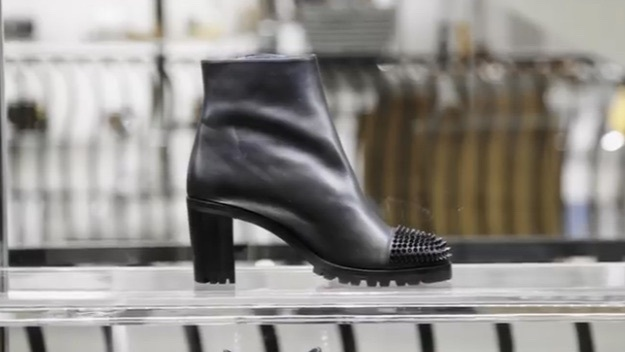 shoes black leather spikes boots