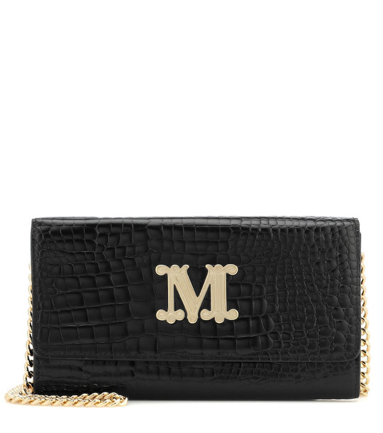 Max Mara Con croc-effect leather shoulder bag in black