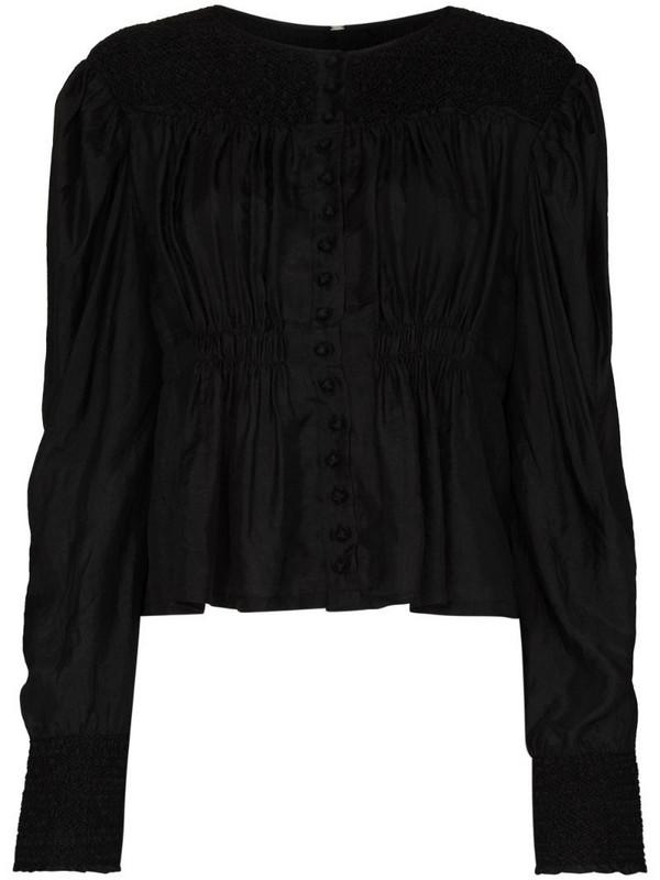 MIMI PROBER Margarete organic-silk long-sleeve blouse in black