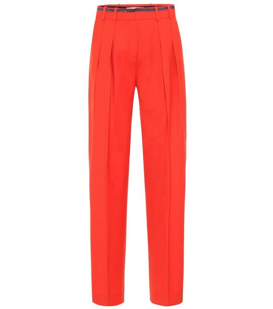 Victoria Victoria Beckham Wool-blend straight-leg pants in red