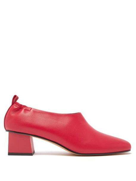 Gray Matters - Micol Block Heel Leather Pumps - Womens - Red