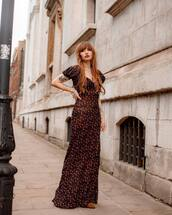 dress,maxi dress,floral dress,slit dress,brown boots,elegant