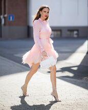 dress,mini dress,feathers,pink dress,sandal heels,white bag